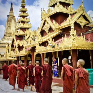 Monks Shwedagon Pagoda, Yangon, Myanmar